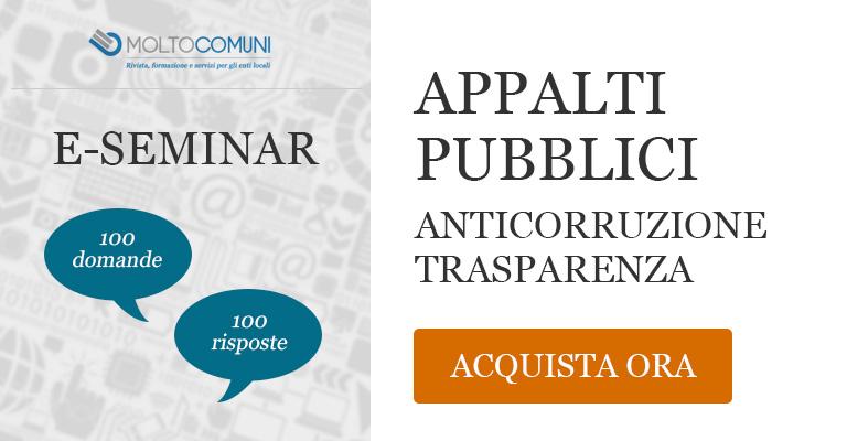 e-seminar - Appalti pubblici, anticorruzione trasparenza